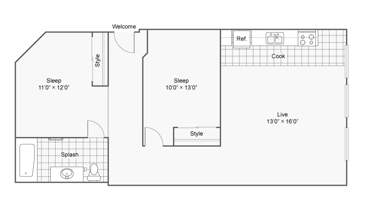 Floor Plan 22 | 2 Bedroom Apartments Denver | Renew on Stout