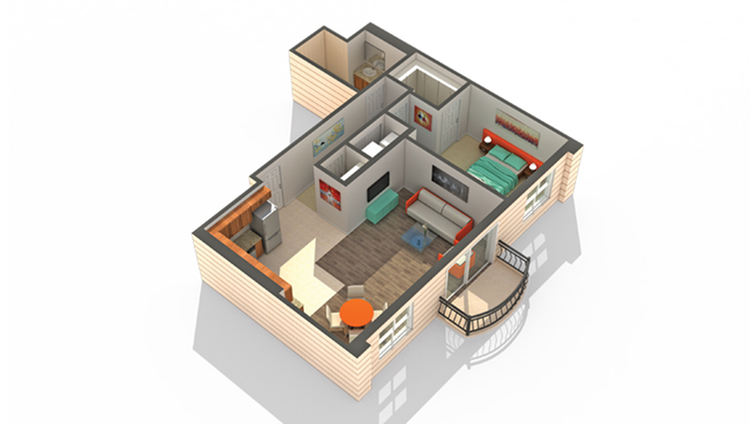 1 Bedroom Floor Plan | Apartments In Des Plaines | Renew Five Ninety Five