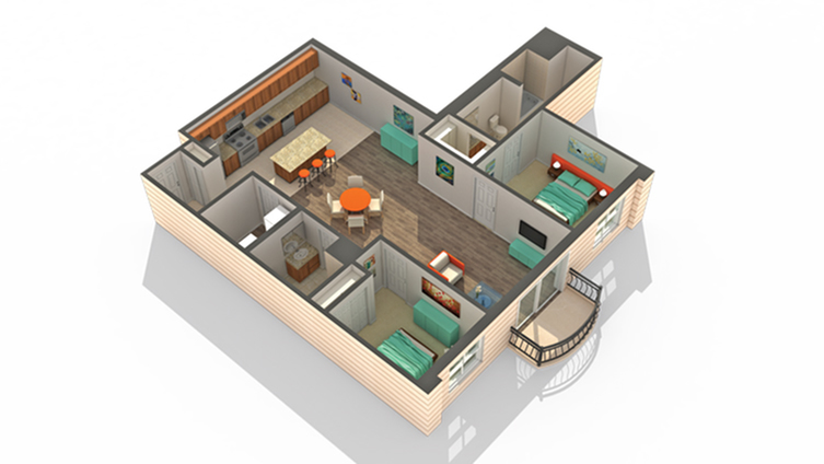 2 Bedroom Floor Plan | Apartments Des Plaines IL | Renew Five Ninety Five