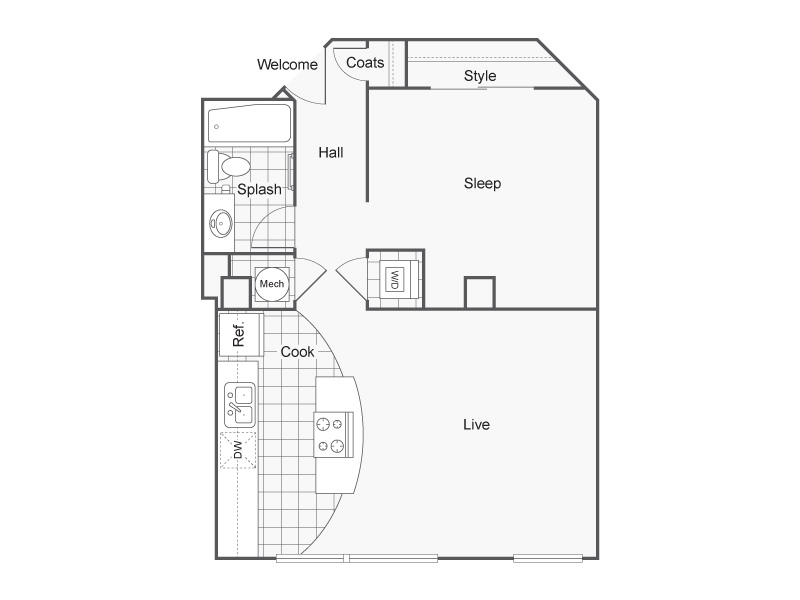 1 Bedroom Floor Plan | Apartments In Wichita KS | ReNew Wichita