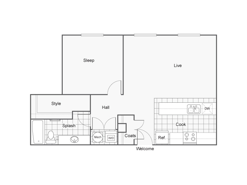 Floor Plan 27 | Studio Apartments Downtown Wichita KS | ReNew Wichita
