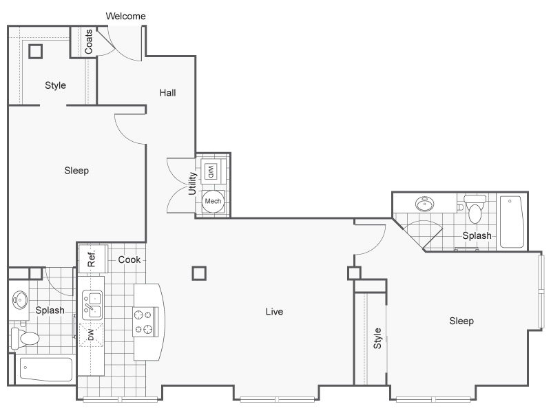 Floor Plan 46 | Apartments In Wichita KS | ReNew Wichita