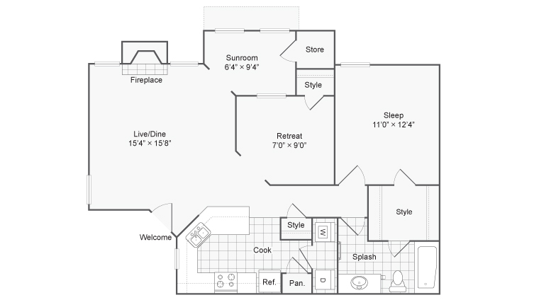 Floor Plan | ReNew Chesterfield Apartment Homes for Rent in Chesterfield MO 63017