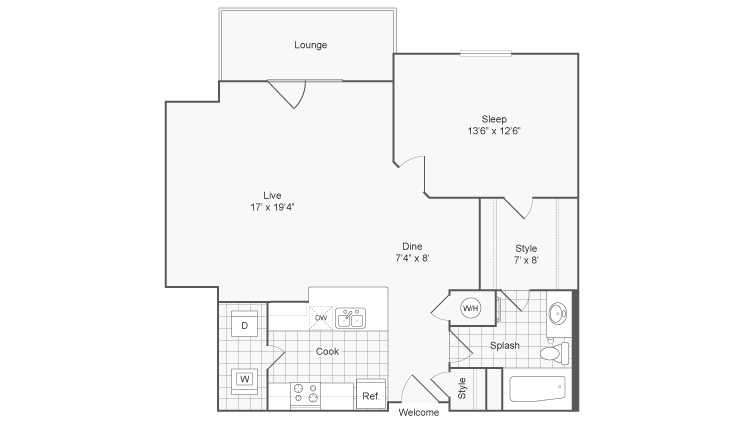 1 Bedroom Floor Plan | Glenmoore PA Apartments | ReNew Glenmoore