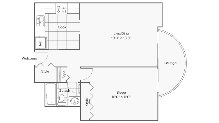 1 Bdrm Floor Plan | Apartments for Rent Wheaton IL | ReNew Wheaton Center