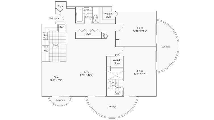 2 Bedroom Floor Plan | Apartments Wheaton IL | ReNew Wheaton Center