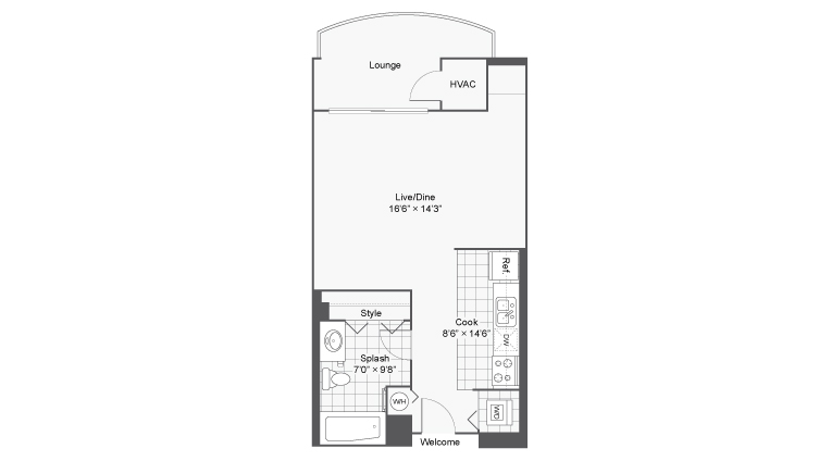 Studio Floor Plan | Apartments Near Lombard IL | ReNew Downer\'s Grove