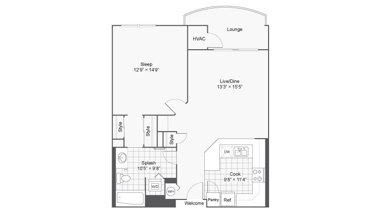 1 Bedroom Floor Plan | Apartments Near Wheaton IL | ReNew Downer\'s Grove