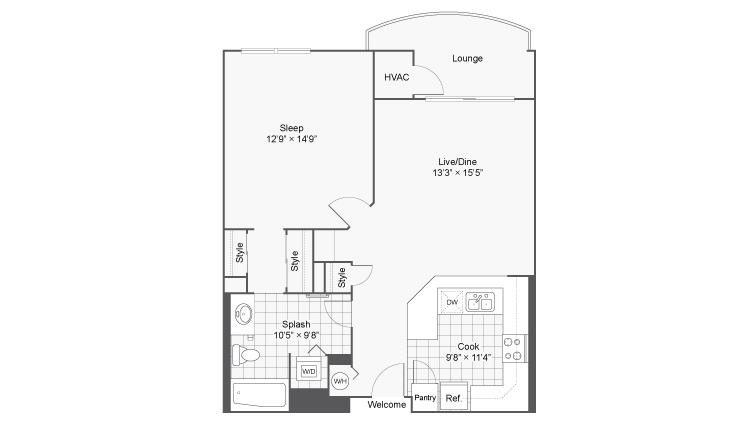 1 Bedroom Floor Plan | Apartments Near Wheaton IL | ReNew Downer\'s Grove