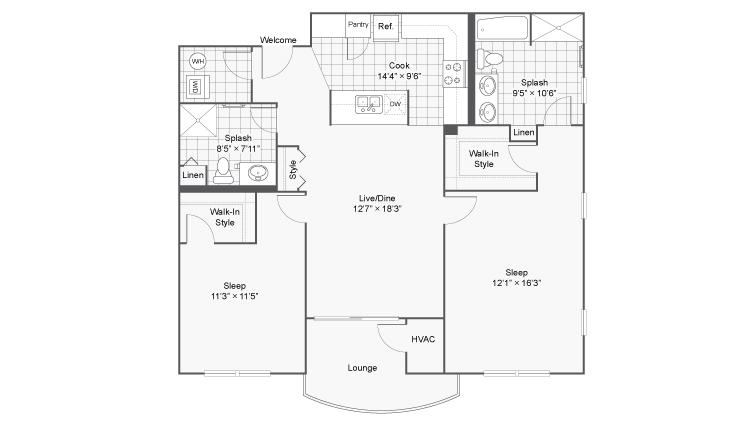 2 Bedroom Floor Plan | Apartments Near Lombard IL | ReNew Downer\'s Grove