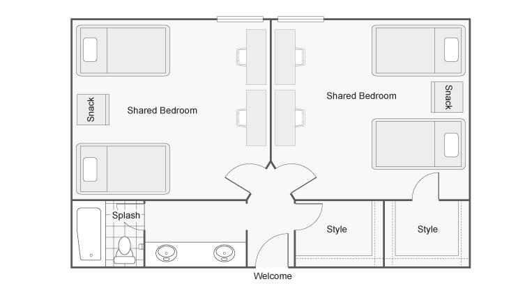 2 Bdrm Floor Plan | CSU Chico Off Campus Housing | The Social Chico