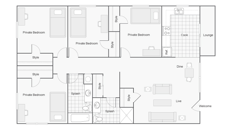 Floor Plan | The Social Chico Student Spaces for Rent in Chico CA 95928
