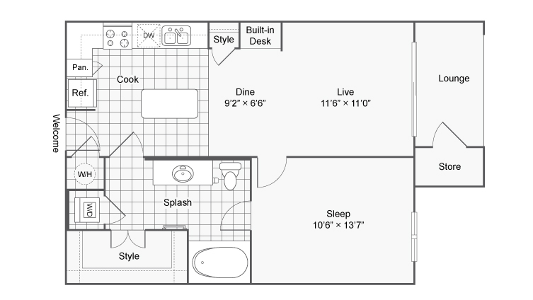 Floor Plan 2 | Luxury Apartments In Brookhaven GA | TwentyNine24 Brookhaven