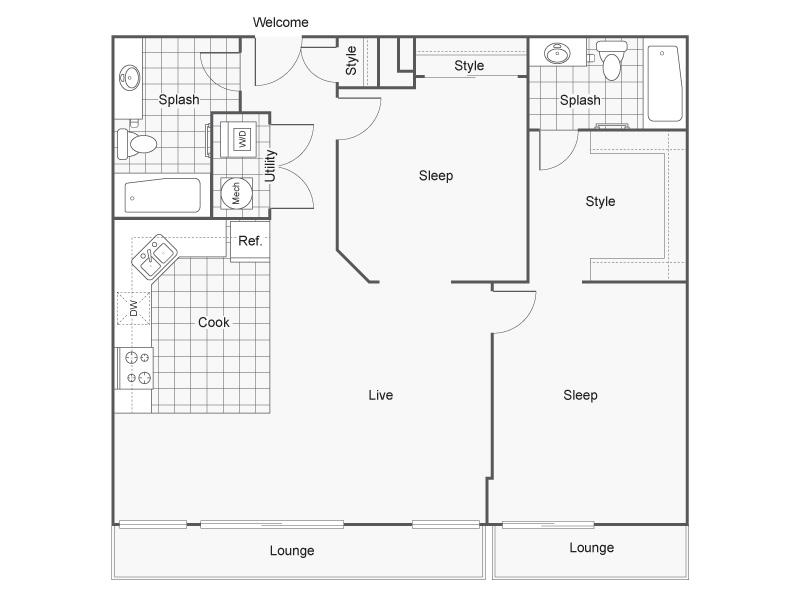 2 Bedroom Floor Plan   Wichita Kansas Apartments   ReNew Wichita