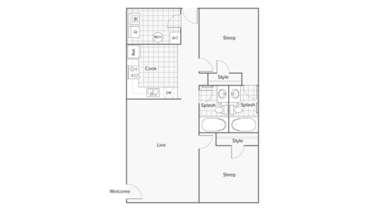 Floor Plan Layout | Serene at Creekstone Apartment Homes for Rent in Athens GA 30601
