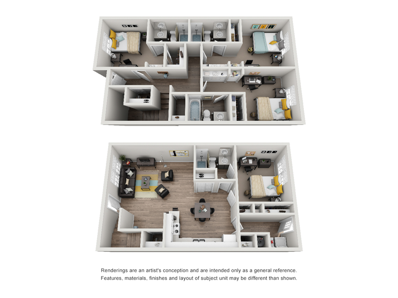 Townhome Furnished Combined Floors 3D