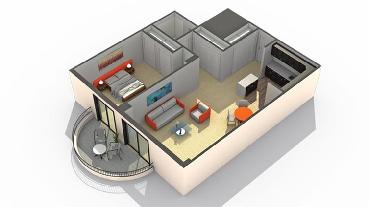 1 Bedroom Floor Plan | Apartments in Wheaton IL | ReNew Wheaton Center