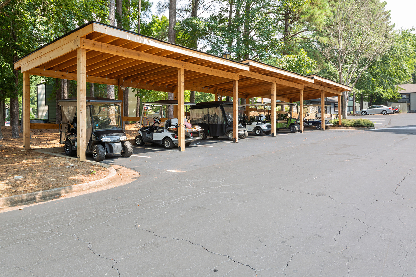Covered golf cart parking