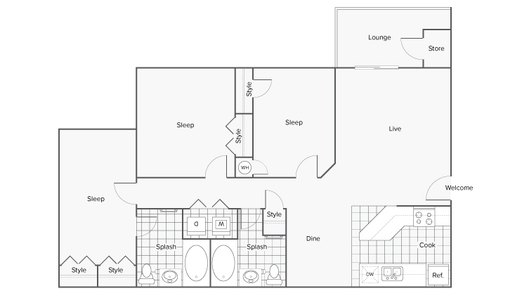 Floor Plan Image | ReNew Braelinn Apartment Homes for Rent in Peachtree City GA 30269