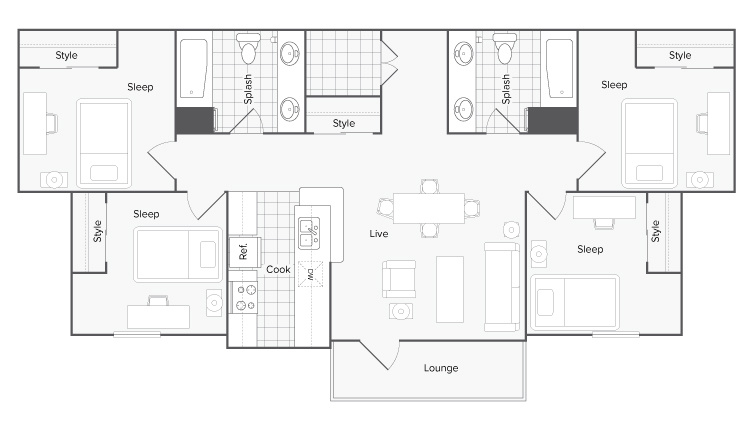 Floor Plans   The Social 1600 Apartment Homes for Rent in Tallahassee FL 32303