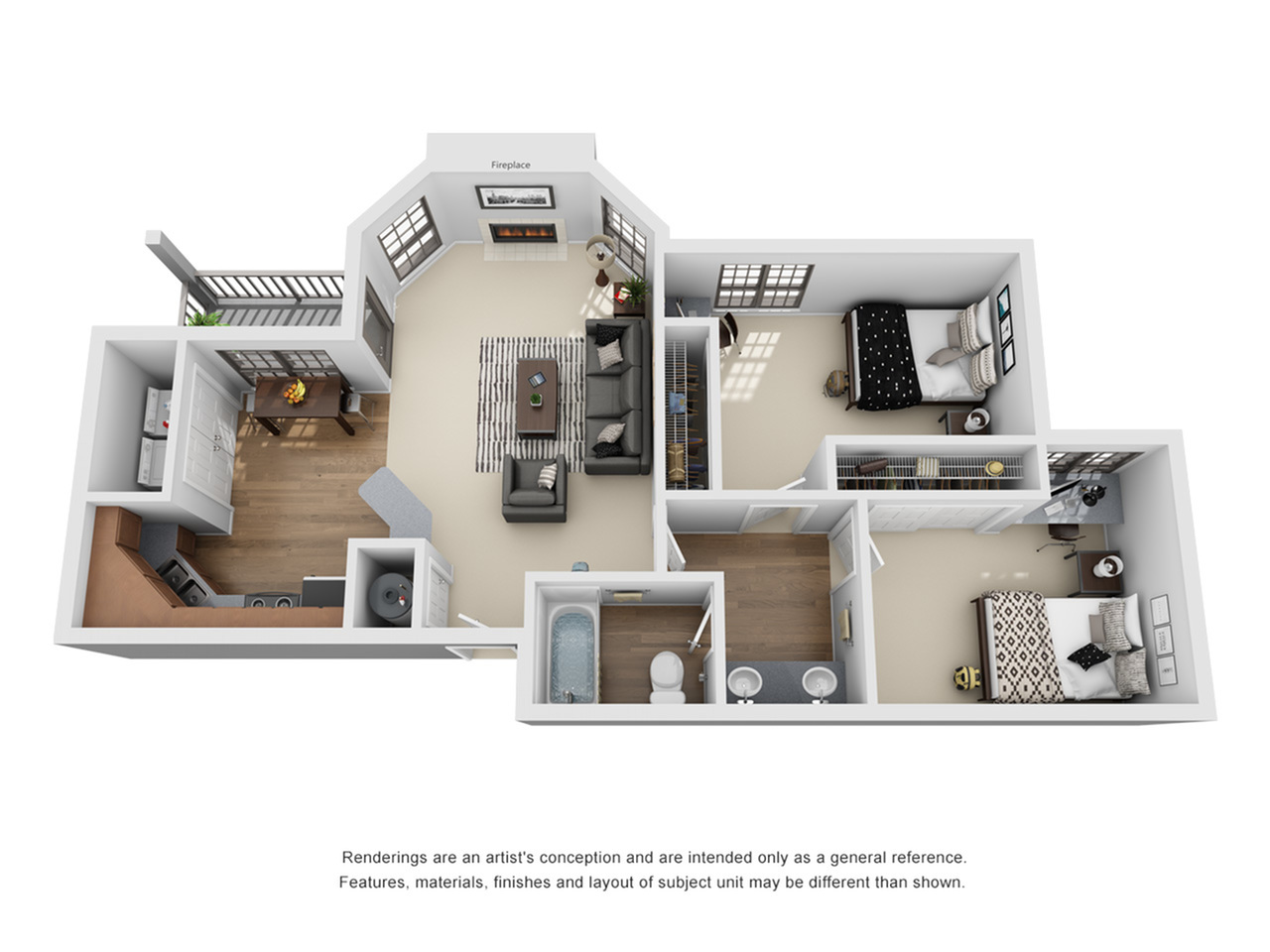2 Bedroom Floor Plan | Pet-Friendly Apartments In Auburn AL | The Hub at Auburn