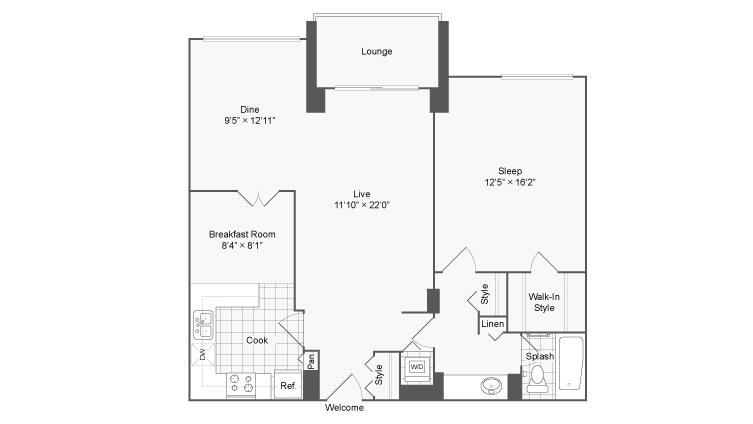 1 Bedroom Floor Plan | Luxury Apartments In Alexandria VA | Arrive 2801