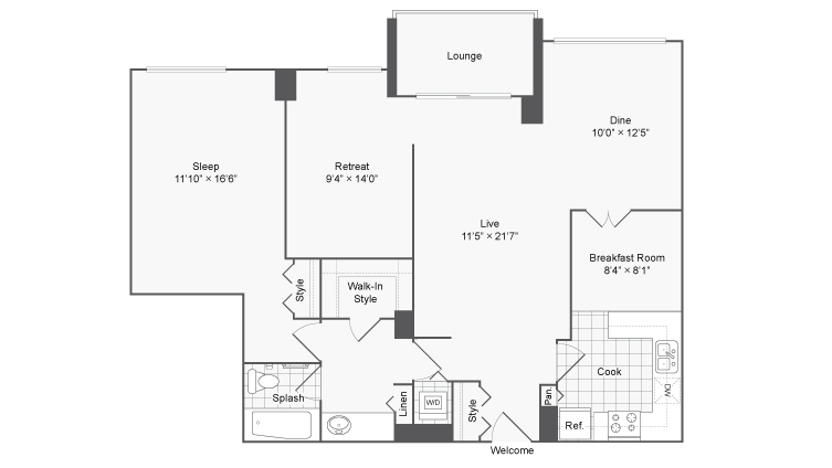 1 Bdrm Floor Plan | 2 Bedroom Apartments In Alexandria VA | Arrive 2801