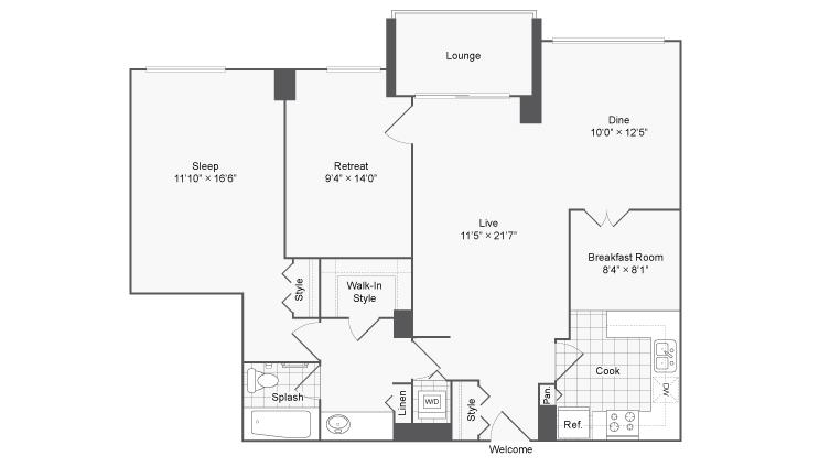 2 Bedroom Floor Plan   Luxury Apartments For Rent In Alexandria VA   Arrive 2801
