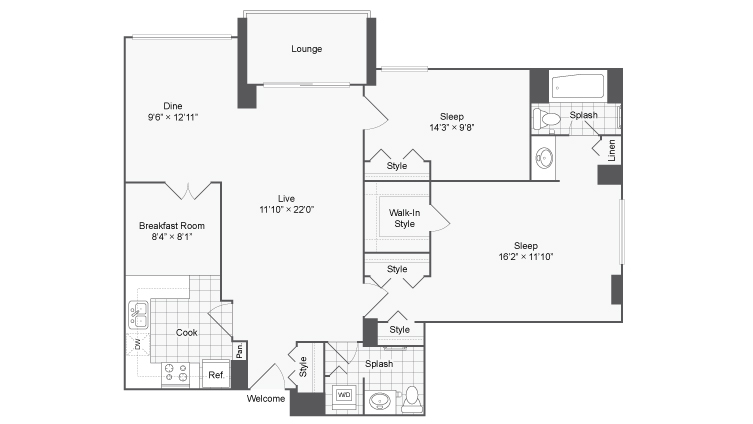 2 Bdrm Floor Plan | Alexandria VA Luxury Apartments | Arrive 2801