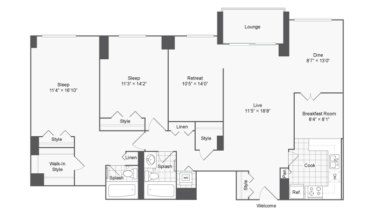 Floor Plan | Arrive 2801 Apartment Homes for Rent in Alexandria VA 22302
