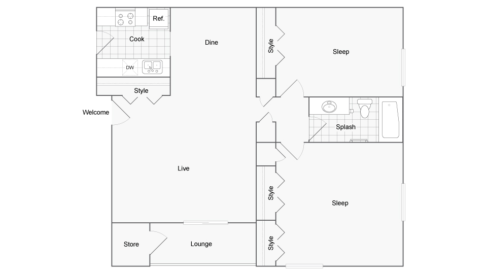 Floor Plan Layout | ReNew Tatnuck Square Apartment Homes for Rent in Worcester MA 01602