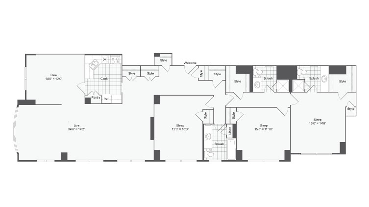 The Charles Floor Plan at The Social North Charles