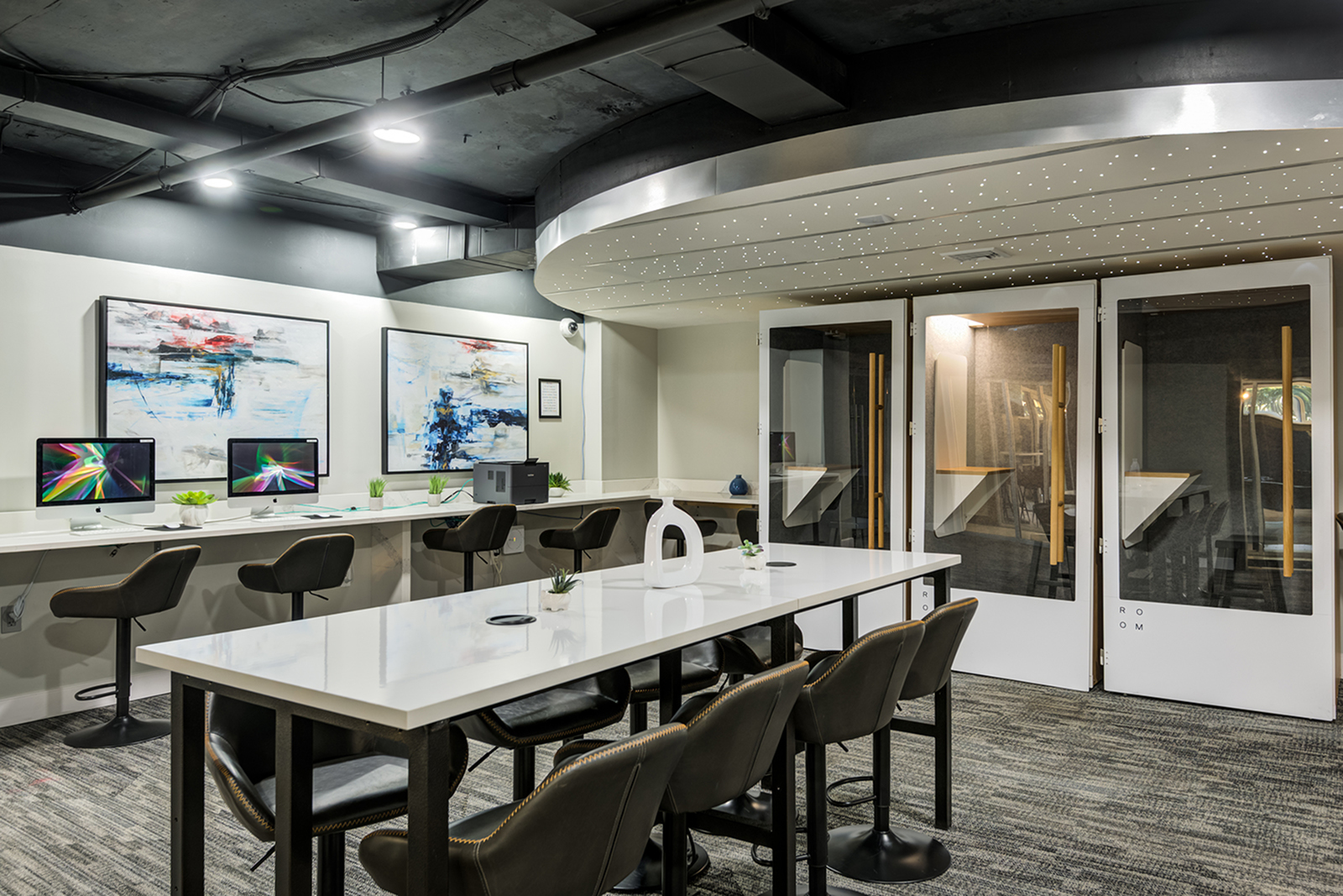 Study room with conference table and chairs