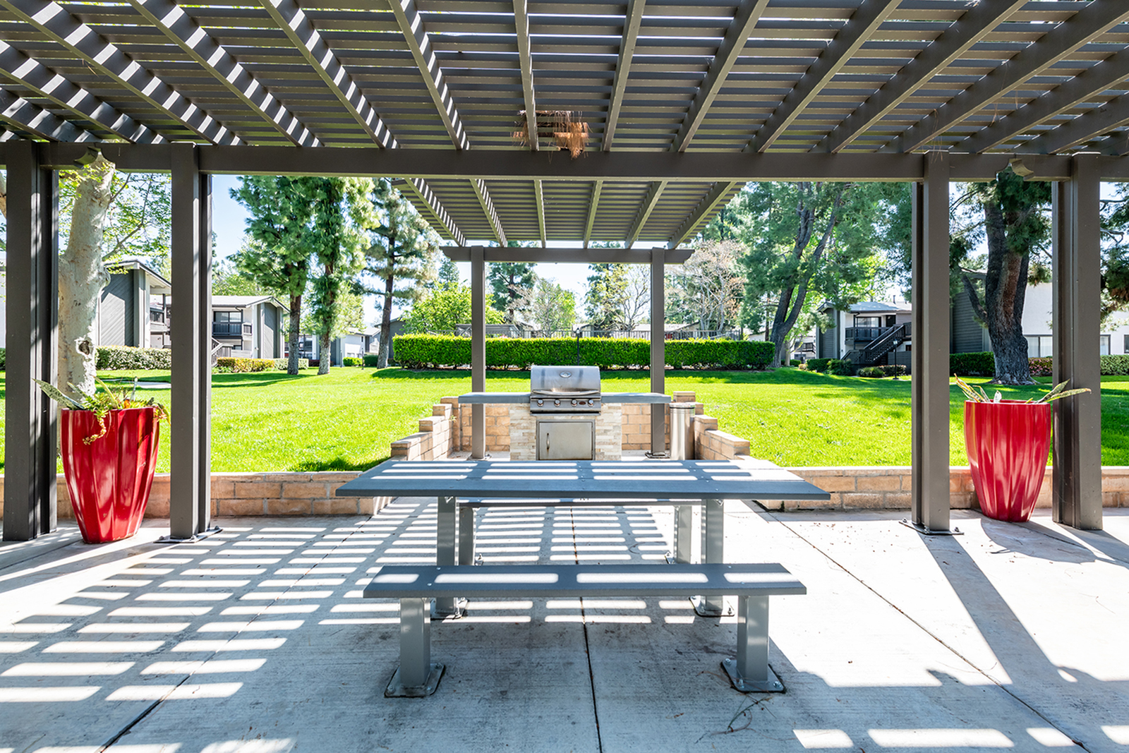 Covered grills and picnic tables