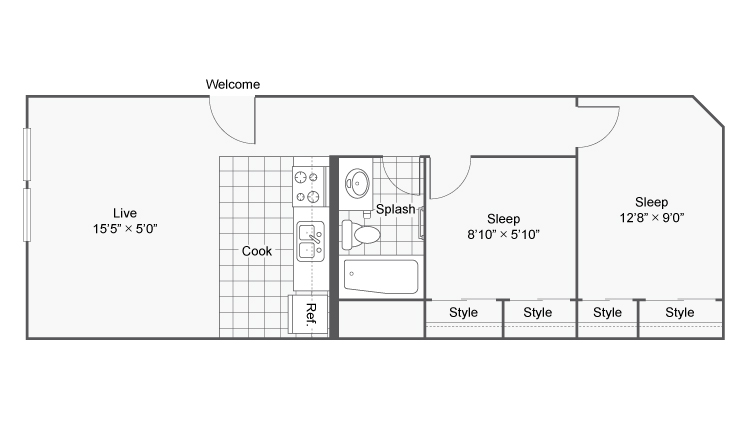 Floor Plan Image | 1-2 Bedroom Apartments Denver | Renew on Stout