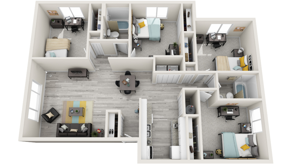 Floor Plan Image | The Social West Ames Steinbeck Apartment Homes for Rent in Ames IA 50014