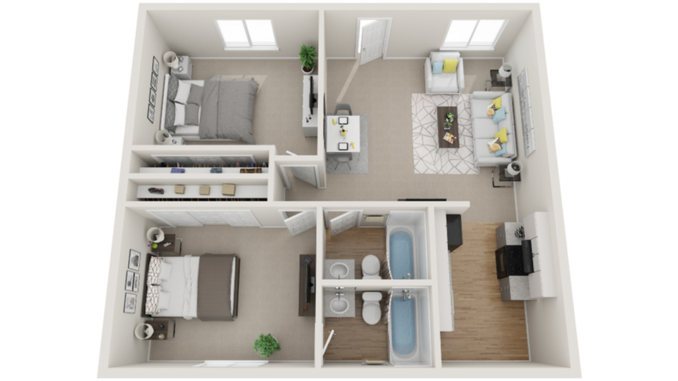 Two Bedroom Two Bath D 2 Bed Apartment Dwell Apartment Homes