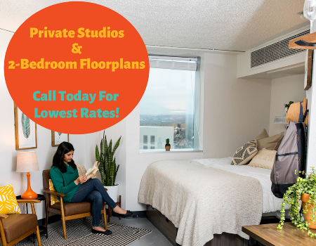 Sign today to receive the lowest rates and reserve your spot at the best dorm living community, just 21 steps from the UT-Austin campus!