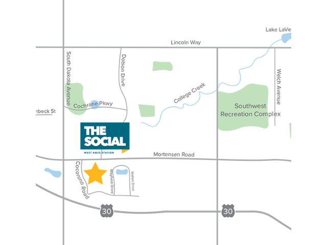 Location of The Social West Ames Station
