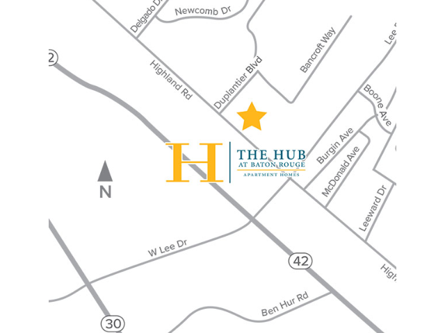Location of The Hub at Baton Rouge