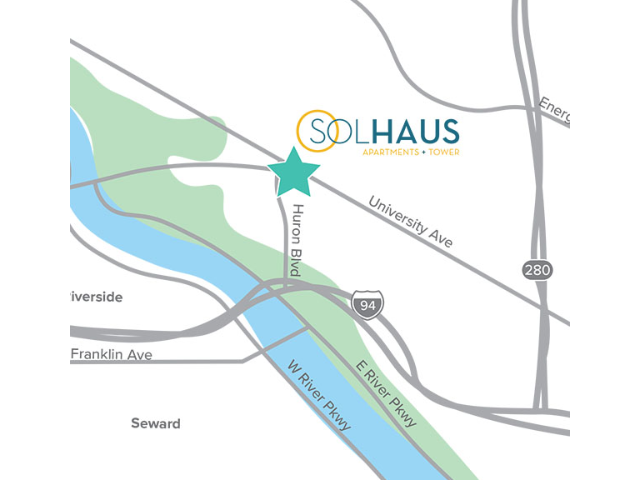 Location of Solhaus Apartments + Tower