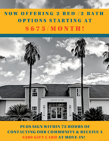 Now offering 2x2's for only $675!  And if you take a tour of The Venetian and sign a lease within 72 hours, you'll receive a $250 gift card at move-in!  Sign today to secure the best living experience in Tallahassee!