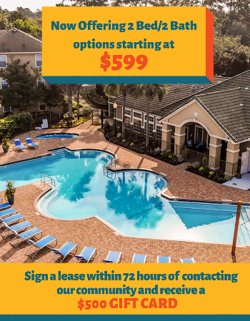 NEW 2x2 floorplan options starting at $599!  Sign your lease within 72 hours of contacting our community and receive a $500 Gift Card at move- in!