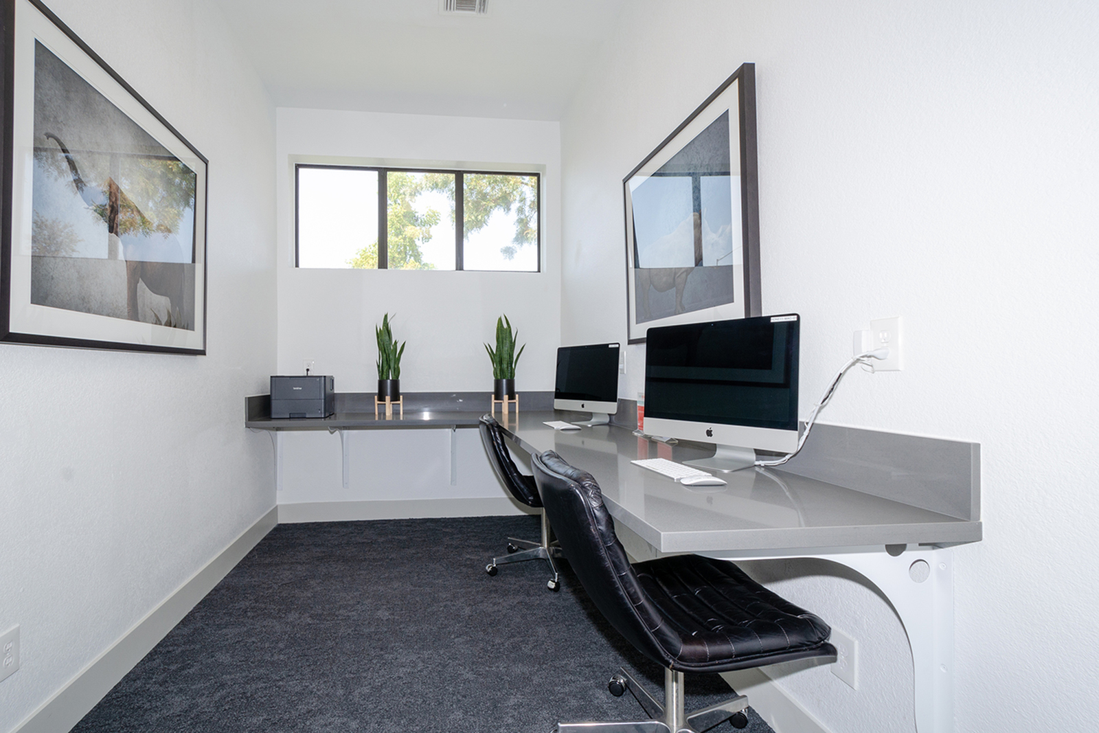 Business center with Apple computers