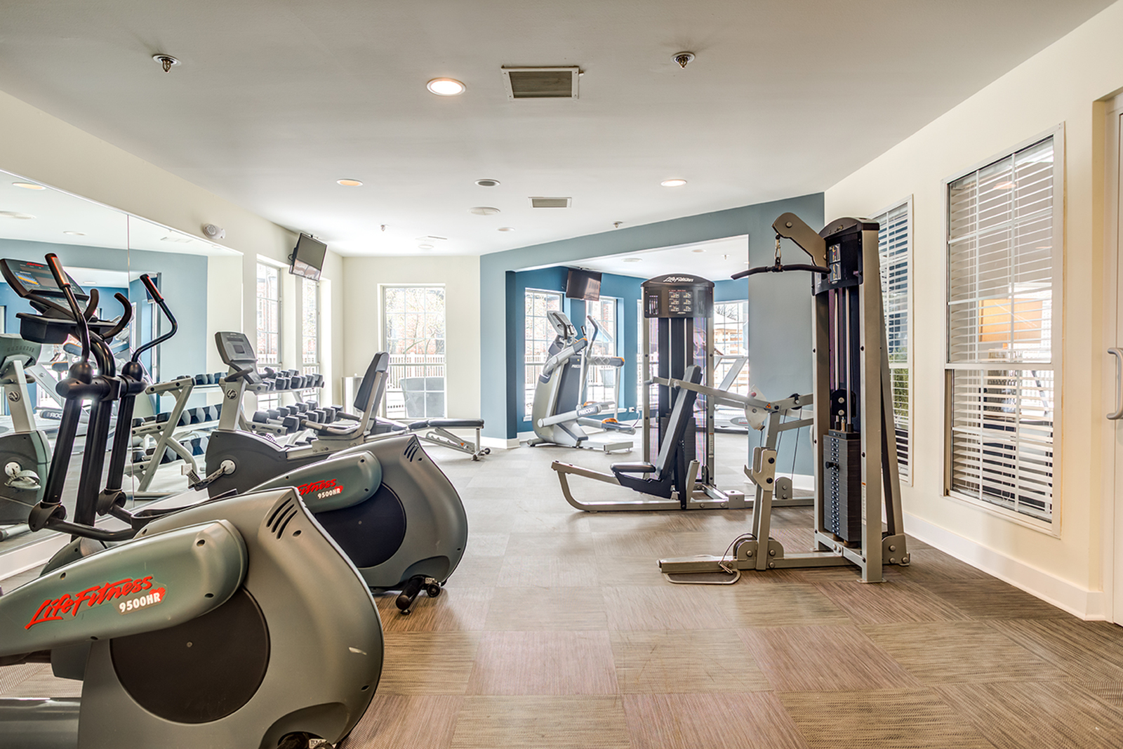 Fitness center with cardio and weight machines