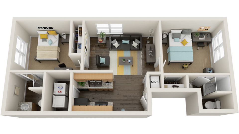 Floor Plan Layout | The Social Row Apartment Homes for Rent in Tallahassee FL 32304
