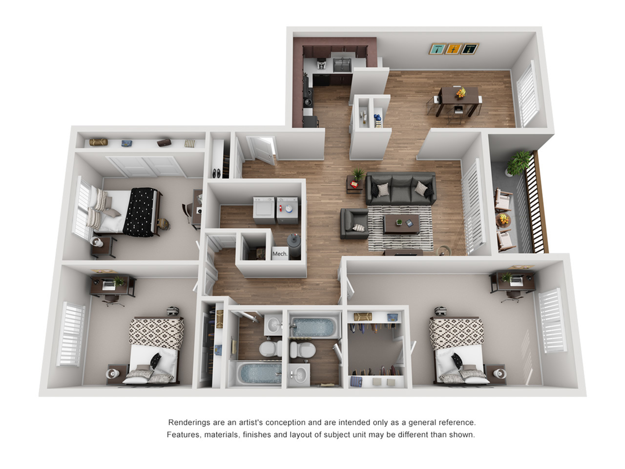 Floor Plan 25 | Student Apartments Near FSU | The Social at Tallahassee