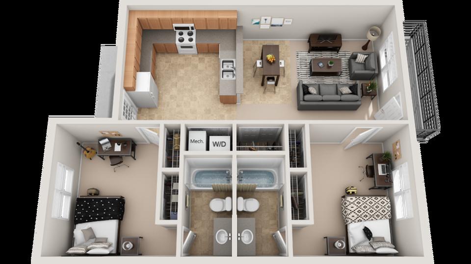 3D Floor Plan Image | The Social 2700