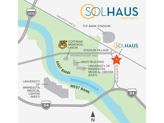 Location of Solhaus Apartments