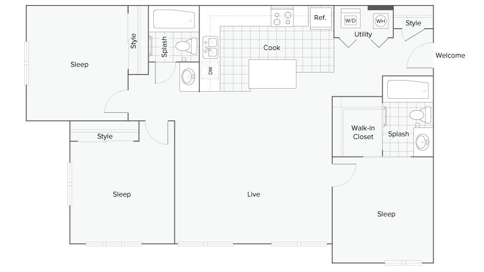 Floor Plan Images | The Social Fort Collins Apartment Homes for Rent in Fort Collins CO 80526